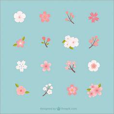 Blossom Vectors, Photos and PSD files Cherry Blossom Art, Peach Blossoms, Cherry Blossom Vector, Logo Fleur, Jagua Henna, Japanese Patterns, Floral Illustrations, Flower Art, Flower Vector Art