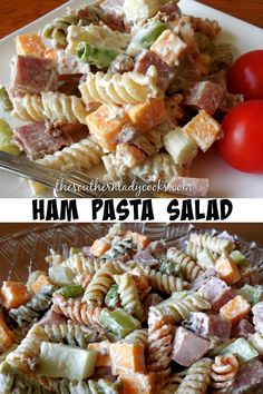 Ham pasta salad is easy and delicious and perfect for any occasion or gathering. Ham pasta salad is easy and delicious and perfect for any occasion or gathering. Bacon Ranch Pasta Salad, Best Pasta Salad, Summer Pasta Salad, Crab Pasta Salad, Summer Salads, Ham Pasta Salads, Tri Color Pasta Salad, Macaroni Salads, Bbq Salads