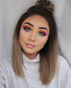 Beautiful rainbow eyeshadow look - Make-up - Maquillaje Rainbow Makeup, Colorful Eye Makeup, Rainbow Eyes, Bright Eye Makeup, Bright Eyeshadow, Fall Eyeshadow, Colorful Eyeshadow, Yellow Eye Makeup, Metallic Eyeshadow