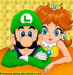 Luigi and Daisy 8-D by Princesa-Daisy.deviantart.com on @deviantART
