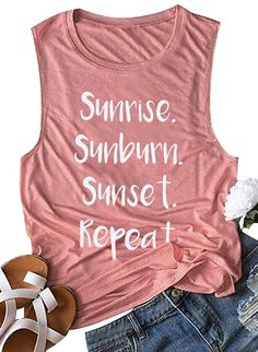 beach vacation clothes Shop a great selection of Country Music Vacation Shirt Sunrise Sunburn Sunset Repeat Tank Tops Women's Vest Tees Letter Graphic Summer Shirts. Beach Shirts, Vacation Shirts, Summer Shirts, Cute Shirts, Beach Tanks, Vacation Humor, Summer Tank Tops, Florida Vacation, Vacation Places