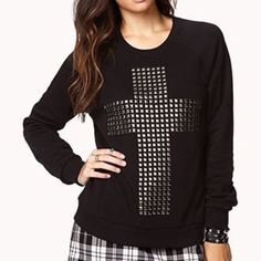 Forever 21 Studded Cross Crewneck Sweatshirt Black, thin sweatshirt with studded cross. Semi-stretched fit, size medium but will fit smalls. Model photo from Forever 21. Forever 21 Tops Sweatshirts & Hoodies