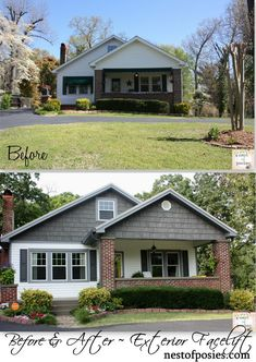 Home Renovation Exterior a facelift for our home {exterior remodel and curb appeal} - Nest of Posies - Outside of giving birth to the kids Home Exterior Makeover, Exterior Remodel, Home Design, Design Ideas, Home Renovation, Home Remodeling, Basement Renovations, Mesa Exterior, Lofts