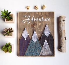 Mountain String Art, Adventure, Wooden Sign