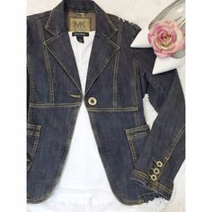 Michael Kors fitted Jean Jacket Stylish trailered Jean Jacket by the amazing Michael Kors. Two pockets in the front. Button up cuffs. Metal detail chain in back. Distressed styled denim. Michael Kors Jackets & Coats Jean Jackets