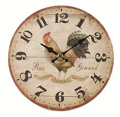 Blossom Bucket 1566-71921 Rooster Round Wall Clock, 5-3/4""