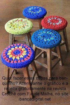 Watch This Video Incredible Crochet a Bear Ideas. Cutest Crochet a Bear Ideas. Love Crochet, Crochet Gifts, Diy Crochet, Stool Cover Crochet, Crochet Furniture, Boho Dekor, Stool Covers, Diy Cushion, Crochet Home Decor