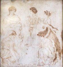 Els jugadors de tabes, pintades sobre marbre, van signar obra d'Alexander d'Atenes. Nàpols, Museu Arqueològic Nacional de 9562.