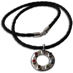 @Overstock - This stylish leather necklace features a round pendant accented with amethyst, iolite, apatite, peridot, citrine, carnelian and garnet gemstones. This unique necklace is handcrafted by artisans in India.http://www.overstock.com/Worldstock-Fair-Trade/Sterling-Silver-7-Chakra-Happiness-Leather-Necklace-India/6531897/product.html?CID=214117 $73.99