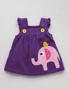 New Mini Baby Boden Girls Purple Elephant Applique Cord Pinafore Dress 12-18