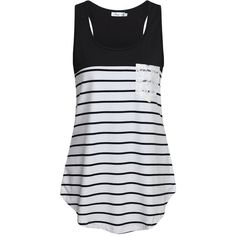 Sinmy Women's Sleeveless Flowy Shirt Stripe Color Block Racerback Tank... ❤ liked on Polyvore featuring tops, cami shirt, racerback cami, stripe tank, stripe shirt and sleeveless shirts
