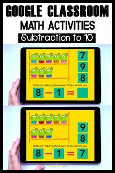 Subtraction Kindergarten, Subtraction Activities, Numbers Kindergarten, Kindergarten Math Activities, Math Classroom, Google Classroom, Word Family Activities, Digital Word, Word Families