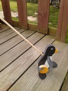 Wooden Old Fashion PENQUIN PUSH TOY (Flapper toys). $15.00, via Etsy.