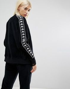 Kappa Zip Front Tracksuit Top With Sports Tape In Velour Co-Ord - Blac