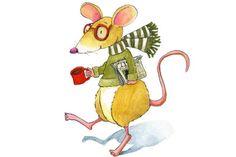 Ratón de Biblioteca, bien abrigado, preaparado para su lectura… y un buen chocolate caliente (ilustración de Deborah Melmon)