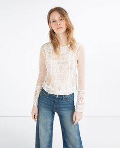 Image 1 of CONTRAST LACE TOP from Zara