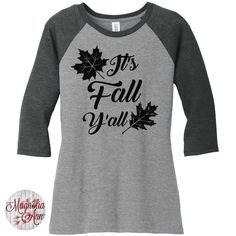 It's Fall Y'all, Leaves Womens Baseball Raglan 3/4 Sleeve Top in 5 colors, Sizes Small-4X, Plus Size by MagnoliaAnn on Etsy