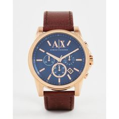 Armani Exchange Chronograph Watch With Leather Strap AX2508 (247 CAD) ❤ liked on Polyvore featuring men's fashion, men's jewelry, men's watches, brown, mens oversized watches, mens leather strap watches, mens stainless steel watches, mens brown leather strap watches and mens chronograph watches