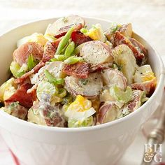 Potato salad is a summer barbeque classic, and our red potato salad with bacon is the perfect recipe for your Memorial Day gathering. Combine potatoes, celery and onions with a few sauces and seasonings to make a delicious and tangy potato salad, then top wtih bacon crumbles. What's not to love?