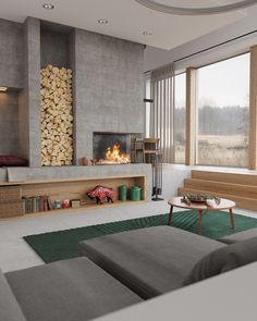 Sunken Living Room Design Ideas Wood Stove – Home Colour Ideas Contemporary Fireplace Designs, Modern Fireplace, Living Room With Fireplace, Fireplace Ideas, Fireplace Wall, Simple Fireplace, Concrete Fireplace, Sunken Living Room, Living Room Modern