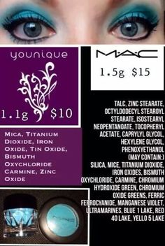 Comparing Younique Moodstruck mineral pigments side by side w/ a leading designer competitor. Ladies...be kind to your face. I think the gentler, more valuable product is obvious. (Fall 2014 price change for Younique: $12.50USD. Compare to current MAC, Avon, Mary Kay, Sephora, etc. pricing.)