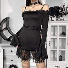 Punk Dress, Gothic Dress, Vestidos Vintage, Vintage Dresses, Off Shoulder Dresses, Mini Dress With Sleeves, Tight Dresses, Vintage Goth, Black Clothes