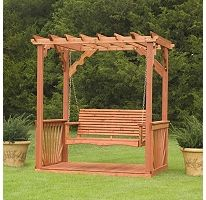 Cedar Pergola Swing would love to have this in the backyard to replace the rusted rotting swing. And plant flowers around it :) of course stained to match the swing set :P