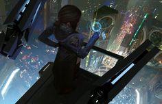 As ilustrações de ficção científica com um toque cyberpunk de Brandon Liao