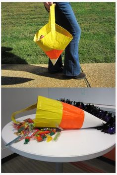 Step-by-step instructions for making a candy corn trick-or-treat bag out of duct tape! #Halloween #candycorn #ducttape