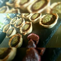Passion fruit and chocolate gnache tarts