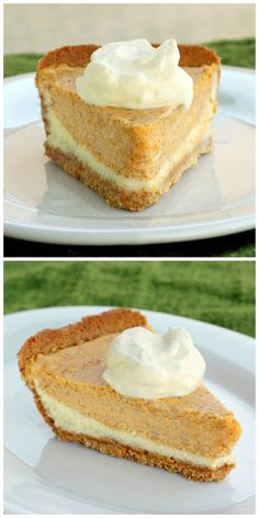Double Layer Pumpkin Pie - a layer of cheesecake topped with a layer of pumpkin cheesecake in a graham cracker crust. Brownie Desserts, Oreo Dessert, Mini Desserts, Coconut Dessert, Pumpkin Dessert, Just Desserts, Delicious Desserts, Dessert Recipes, Double Layer Pumpkin Cheesecake