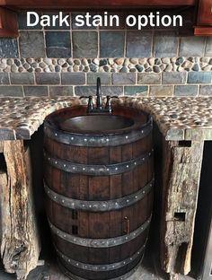 Whiskey barrel sink hammered copper rustic antique bathroom / bar / man cave vanity wine oak barrel vanity bourbon CUSTOM personalized - November 10 2019 at Man Cave Vanity, Man Cave Bathroom, Basement Bathroom, Master Bathroom, Pool Bathroom, Basement Gym, Master Baths, Walkout Basement, Bathroom Closet