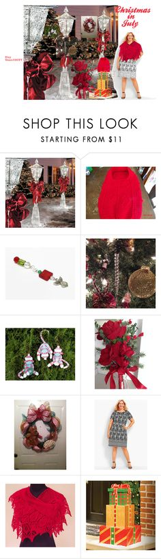Christmas in July - #EtsyTeamUNITY by bscozycottagecrafts on Polyvore featuring interior, interiors, interior design, home, home decor, interior decorating, Improvements, Talbots and plus size dresses