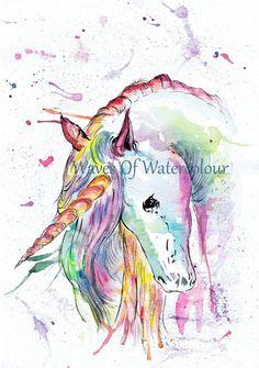 Unicorn Painting. Unicorn Watercolour. by Wavesofwatercolour