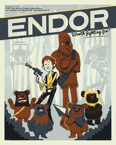 Endor: Worth Fighting For! | By: Ian Glaubinger | #starwars #starwarsfanart #starwarsfanposter #starwarstravelposter #endor