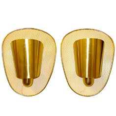 Set of 3 Brass & Perforated Metal Sconces by Jacques Biny | From a unique collection of antique and modern wall lights and sconces at https://www.1stdibs.com/furniture/lighting/sconces-wall-lights/