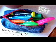 Diy║ Como hacer una cartuchera con jean ✄ costura a mano ✂ reciclaje de tela - YouTube