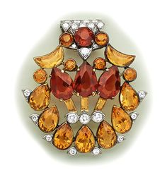 Art Deco Half-Moon Citrine, Pear-Shaped Citrine, Baguette-Cut Citrine, Citrine, Diamond, Gold And Platinum Clip Brooch