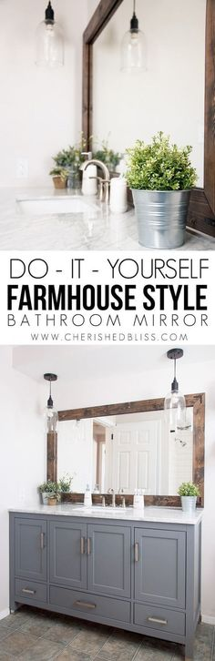 Farmhouse Bathroom Mirror by Cherished Bliss | DIY Farmhouse Decor Projects for Fixer Upper Style #farmhouse #diy #fixerupper #farmhousestyle #farmhousedecor