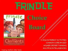 9 activities that provide a fun culmination to your Frindle unit. Students can choose from a variety of activities to create their own final project. Use as classwork, homework, or even in literacy centers. Activities promote higher order thinking, are connected to Common Core standards, and are engaging by tapping into the Multiple Intelligences.Check out more AWESOME CHOICE BOARDS for Upper Elementary and Middle School novels in my store!