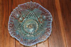 Dugan/Diamond Factory Scheherezade Opalescent Turquoise 8.5 Bowl-perfect