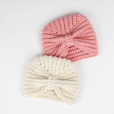 Spring Breeze Crochet Turban - Free Pattern   Croby Patterns Crochet Baby Hats Free Pattern, Crochet Baby Bonnet, Crochet Baby Hat Patterns, Crochet Baby Beanie, Baby Girl Crochet, Crochet Baby Clothes, Crocheted Baby Hats, Crochet Hats For Babies, Newborn Crochet Hats