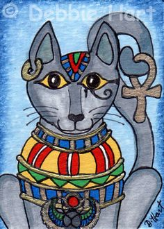 Original #ACEO TW MAR Bastet Bast Egyptian Cat Goddess DEBBIE HART Ankh #Eye Horus #Whimsical