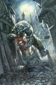 Werewolf horror art By Greg Staples