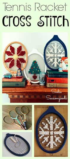 "Oversized cross stitch is SO trendy right now, and you can do it quickly and inexpensively using vintage a wooden tennis racket as your ""canvas""! Great way to upcycle and repurpose old rackets- and with chunky, thick yarn, your craft project is done in a flash! Love this project from #SadieSeasongoods ."