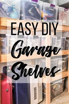 DIY Garage Shelves with Plans Looking for easy DIY garage shelves? These shelves take up very little floor space, but hold a ton of stuff! Get the free woodworking plans to make these DIY garage storage shelves and get building! Diy Garage Storage, Garage Shelving, Garage Shelf, Building Shelves In Garage, Wood Storage, Easy Woodworking Projects, Woodworking Plans, Wood Projects, Popular Woodworking