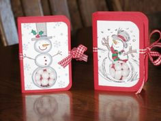 Snowman tic tac holder by karakae - Cards and Paper Crafts at Splitcoaststampers Christmas Craft Fair, Christmas Food Gifts, 3d Christmas, Christmas Paper Crafts, Stampin Up Christmas, Christmas Projects, Holiday Crafts, Christmas Ideas, Christmas Gift Card Holders