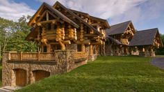 "Magnum Opus, a gorgeous log cabin in N.Y. This is no small scale ""Log Cabin""! Love the garage underneath!"