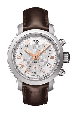 A classic sporty timepiece that nevertheless stands out from the crowd with its screw-down back and crown and its water-resistance of up to a pressure of 20 bar (200 m / 660 ft), the new Tissot PRC 200 Quartz Chrongraph Lady models are elegant timepieces for women with chronograph time, tachymeter and date, plus the Super-LumiNova® hands.  Shown here with brown leather strap, silver dial and rose gold hands and numerals.