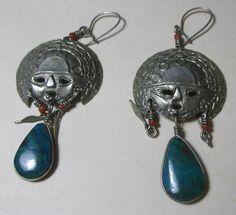 Aztec silver faces drop earrings turquoise pendant & coral beads #DropDangle